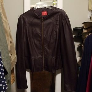 Dark plum faux leather jacket